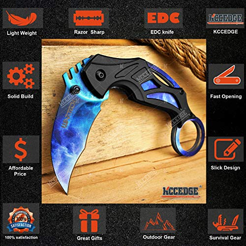 KCCEDGE BEST CUTLERY SOURCE  3 KCCEDGE BEST CUTLERY SOURCE Pocket Knife Camping Accessories Survival Kit Razor Sharp 7 Inch Karambit Tactical Knife Hunting Knife Camping Gear 78609