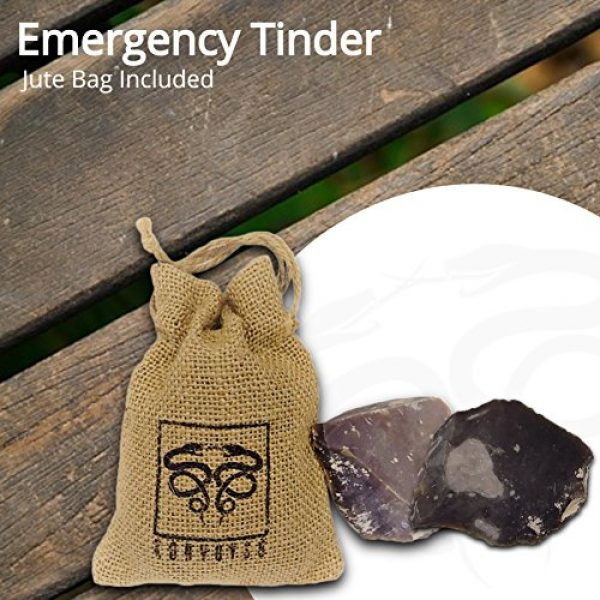 KonvoySG Survival Fire Starter 3 KonvoySG English Flint Stone for Use with A Carbon Steel Striker Comes with an Emergency Tinder Jute Bag