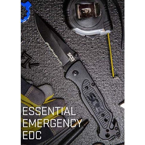 SOG Folding Survival Knife 3 SOG Tactical Folding Knife - Escape Pocket Knife, Emergency Knife and Survival Knife w/ 3.4 Inch Serrated Edge Knife Blade and Glass Breaker (FF25-CP)