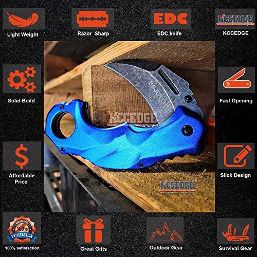 KCCEDGE BEST CUTLERY SOURCE  3 KCCEDGE BEST CUTLERY SOURCE Pocket Knife Camping Accessories Survival Kit Razor Sharp Edge Karambit Folding Knife EDC Camping Gear 56737