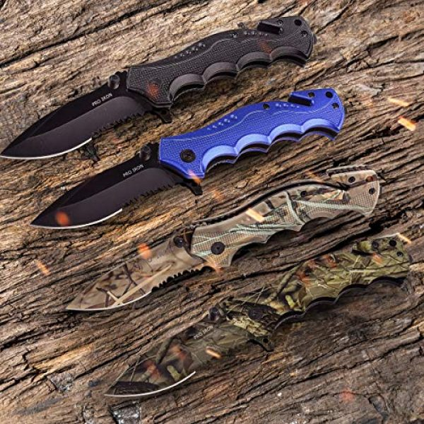 Pro Iron Folding Survival Knife 2 Pro Iron Assisted Opening Serrated Edge Outdoor Survival Camping Hunting Knife Stainless Steel Protective Black Oxide Coating Built-in Seat Belt Cutter and Carry Pocket Clip