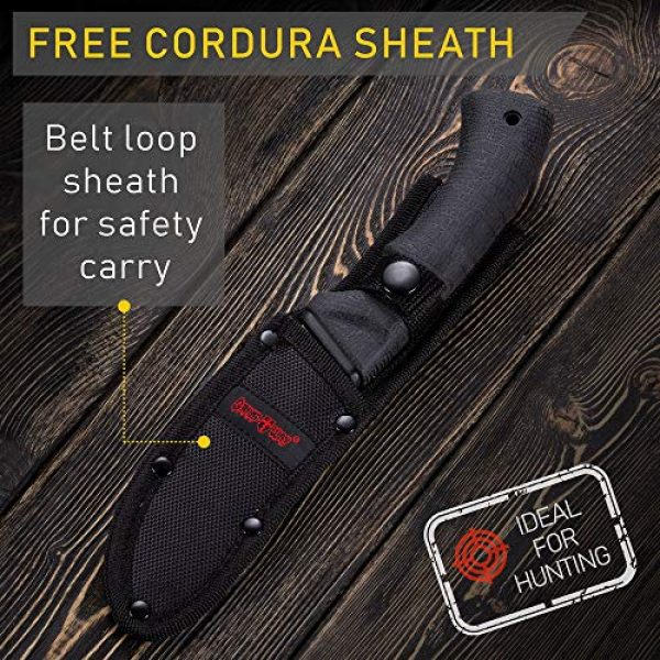 Grand Way Fixed Blade Survival Knife 6 Grand Way Tactical Knife - Survival Bushcraft Fixed Blade Knife with Elastron Handle for Hunting and Fishing - Best Bowie Big Blade Knife for Self Defense 01085