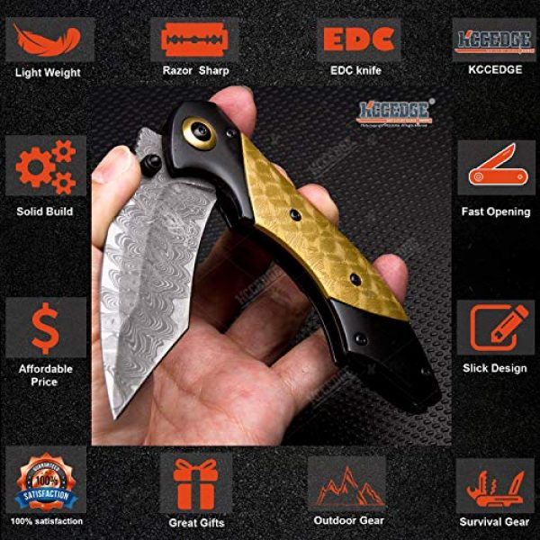 KCCEDGE BEST CUTLERY SOURCE Folding Survival Knife 3 KCCEDGE BEST CUTLERY SOURCE EDC Pocket Knife Camping Accessories Razor Sharp Edge Tanto Recurve Folding Knife Camping Gear Survival Kit 57239