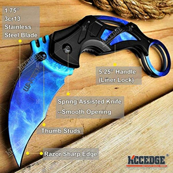 KCCEDGE BEST CUTLERY SOURCE Folding Survival Knife 2 KCCEDGE BEST CUTLERY SOURCE Pocket Knife Camping Accessories Survival Kit Razor Sharp 7 Inch Karambit Tactical Knife Hunting Knife Camping Gear 78609