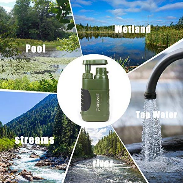 Purewell Survival Water Filter 7 Purewell Water Purifier Pump with Replaceable Carbon 0.01 Micron Water Filter, 4 Filter Stages, Portable Outdoor Emergency and Survival Gear - Camping, Hiking, Backpacking