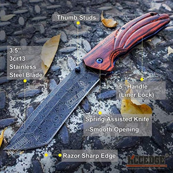 KCCEDGE BEST CUTLERY SOURCE Folding Survival Knife 2 KCCEDGE BEST CUTLERY SOURCE EDC Pocket Knife Camping Accessories Razor Sharp Edge Tanto Blade Folding Knife for Camping Gear Survival Kit 58694