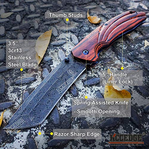 KCCEDGE BEST CUTLERY SOURCE  2 KCCEDGE BEST CUTLERY SOURCE EDC Pocket Knife Camping Accessories Razor Sharp Edge Tanto Blade Folding Knife for Camping Gear Survival Kit 58694