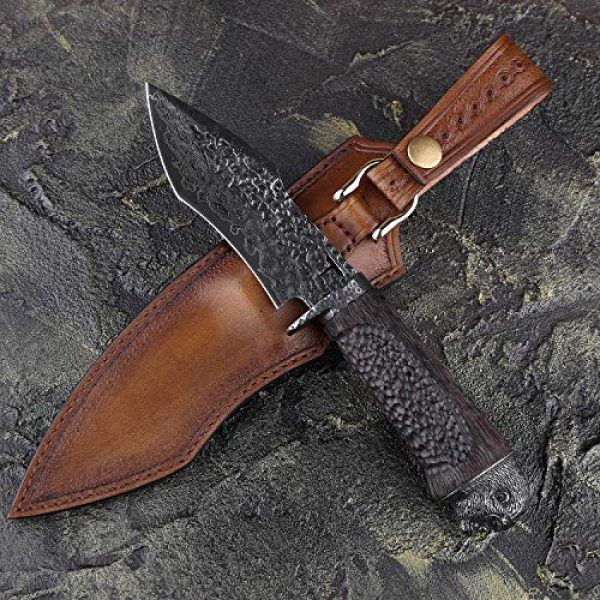 NEWOOTZ Fixed Blade Survival Knife 2 NEWOOTZ Handmade Damascus Steel Hunting Knife with Leather Sheath,Japanese VG10 Core 4.5in Tanto Fixed Blade,Ebony Wood Handle,Full Tang Survival Knives for Men Camping