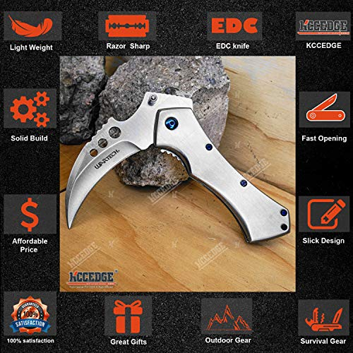 KCCEDGE BEST CUTLERY SOURCE  3 KCCEDGE BEST CUTLERY SOURCE Pocket Knife Camping Accessories Survival Kit 5 Inch Grim Reaper Scythe Tactical Knife Hunting Knife Camping Gear 78364