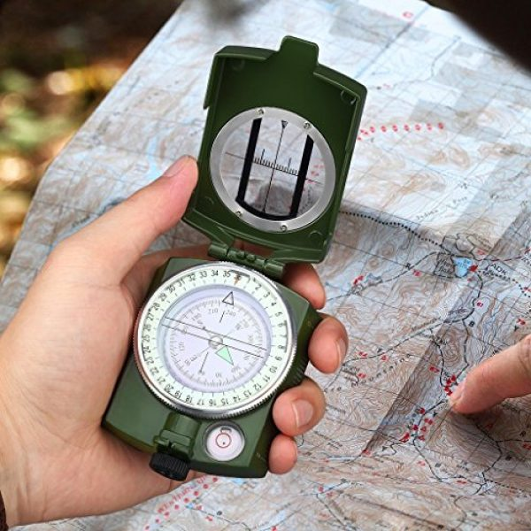 Anyow Survival Compass 7 Outdoor Survival Compass Multifunctional Military Map Sighting Lensatic Compass, Waterproof and Shakeproof for Adventure Hiking Camping with Pouch