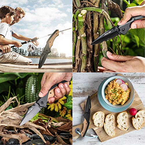 Jellas  3 Jellas Pocket Folding Knife for Men with Olive Wood Handle - Tactical Knives with Safety Liner Lock for Camping Hunting Survival Indoor and Outdoor Activities