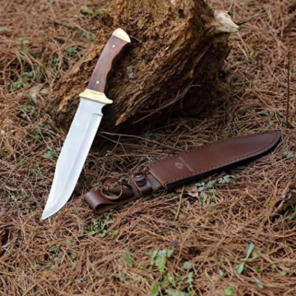 Mossy Oak Fixed Blade Survival Knife 5 MOSSY OAK 14-inch Bowie Knife, Full-tang Fixed Blade Wood Handle with Leather Sheath