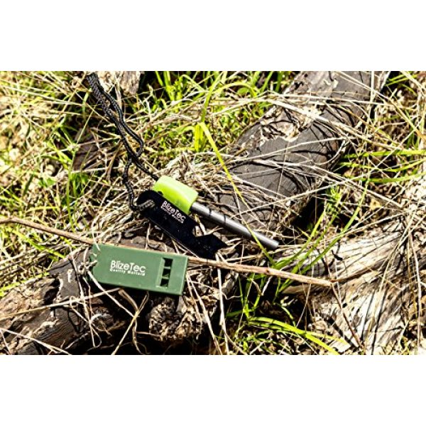 BlizeTec Survival Fire Starter 6 BlizeTec Fire Starter: Best 6-in-1 Magnesium Emergency Fire Starter with Luminous Green Handle, Mini Ruler, Bottle Opener, Serrated Edge and Rescue Whistle; Last Up to 12,000 Strike