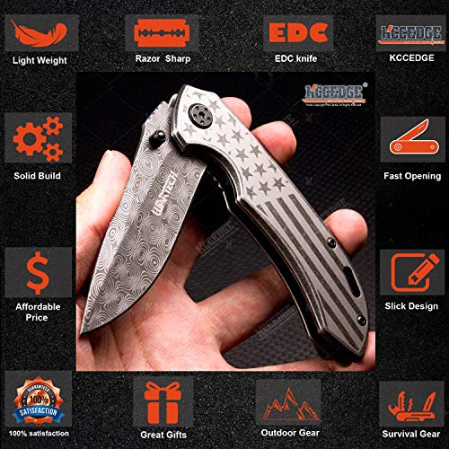 KCCEDGE BEST CUTLERY SOURCE  3 KCCEDGE BEST CUTLERY SOURCE EDC Pocket Knife Camping Accessories Razor Sharp USA Survival Folding Knife Camping Gear Survival Kit 56034