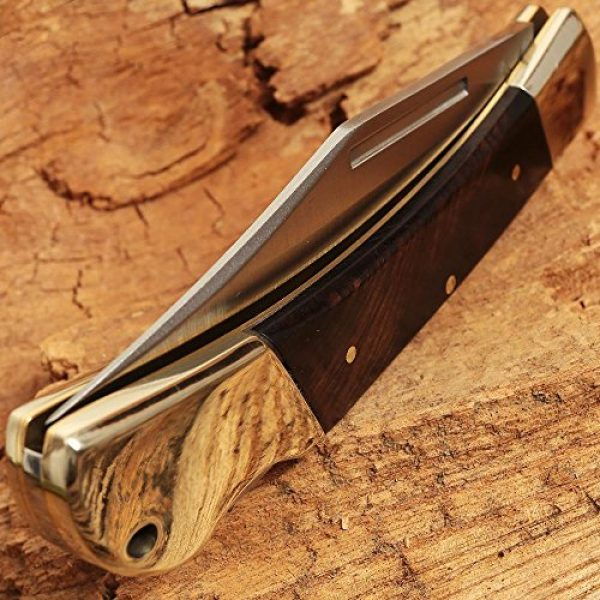 Grand Way Folding Survival Knife 5 Folding Knife - Folding Pocket Knife - EDC and Outdoor Large Fold Knives Classic Clip-point Stainless Steel Blade Wooden Handle - Best Strong Pocket Knife for Urban and Hiking - Grand Way FB 1005 A