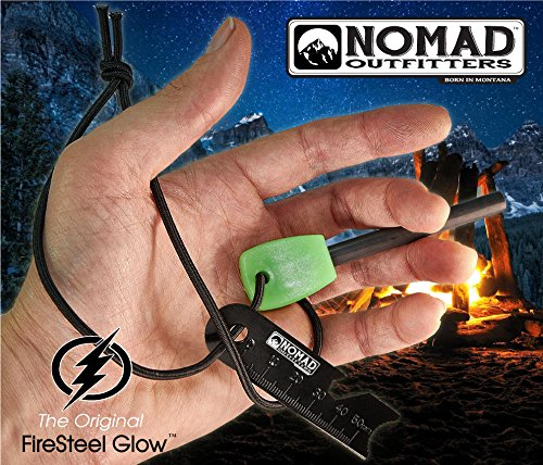 Nomad Survival Fire Starter 5 FireSteel Glow - Glow-In-The-Dark Survival Fire Starter - 15,000 Strike Ferrocerium Rod, Lumilight Luminous Handle, 6 in One Multi Tool, Shock Cord Lanyard, Survival Hiking Hunting Camping Backpacking