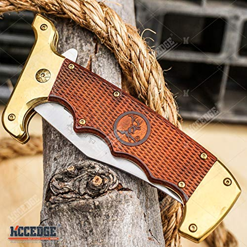 KCCEDGE BEST CUTLERY SOURCE  4 KCCEDGE BEST CUTLERY SOURCE Pocket Knife Camping Accessories Survival Kit Razor Sharp Clip Point Pakkawood Survival Folding Knife Camping Gear EDC 55600