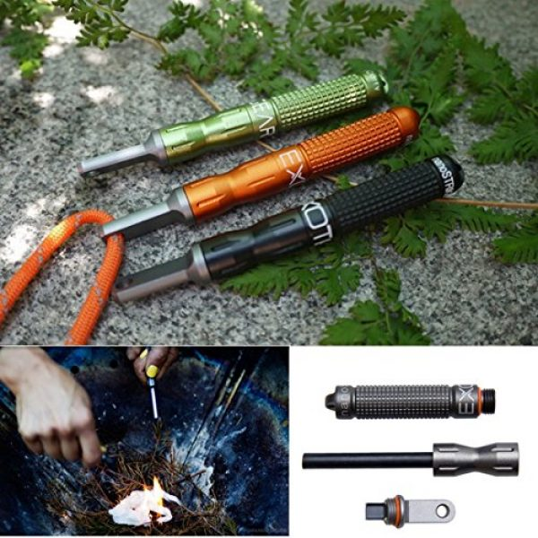 ZJchao Survival Fire Starter 6 ZJchao Outdoor Survival Camp EDC Alloy Fire Starter Waterproof Magnesium Flint Stone CNC Gear Pocket