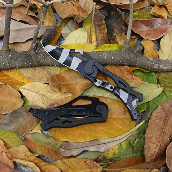 BaiYing Folding Survival Knife 6 BaiYing Folding Pocket Knife, Good Survival Knife for Camping and Outdoor Activities, High Hardness Camping Hunting Knife for Hunting, Travels, Fishing (Black) (BYKA02C CAMO)