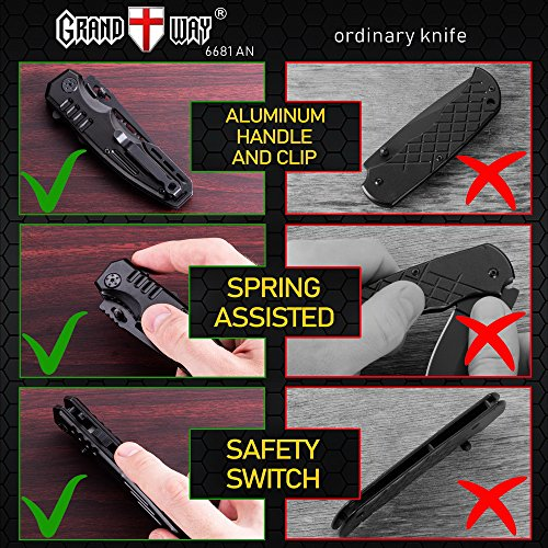 Grand Way  5 Spring Assisted Knife - Pocket Folding Knife - Military Style - Boy Scouts Knife - Tactical Knife - Good for Camping Hunting Survival Indoor and Outdoor Activities Mens Gift 6681