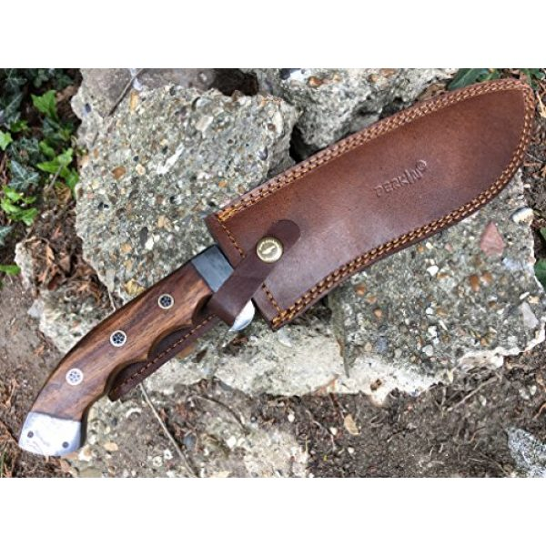 Perkin Fixed Blade Survival Knife 7 Perkin - Hunting Knife with Leather Sheath - D2 Steel Blade