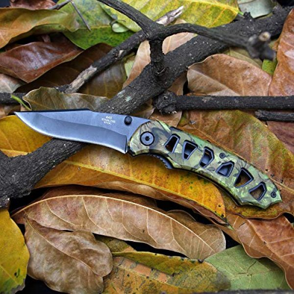 BaiYing Folding Survival Knife 5 BaiYing Folding Pocket Knife, Camo Camouflage Good Survival Knife for Camping and Outdoor Activities, High Hardness Camping Hunting Knife for Hunting, Travels, Fishing