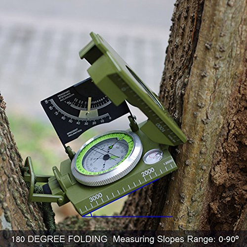 ydfagak Survival Compass 5 ydfagak Compass Waterproof Hiking Military Navigation Compass with Fluorescent Design,Perfect for Outdoor Activities