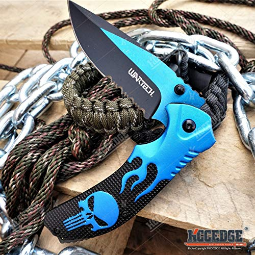 KCCEDGE BEST CUTLERY SOURCE  4 KCCEDGE BEST CUTLERY SOURCE EDC Pocket Knife Camping Accessories Razor Sharp Edge Flame Skull Folding Knife Camping Gear Survival Kit 58403