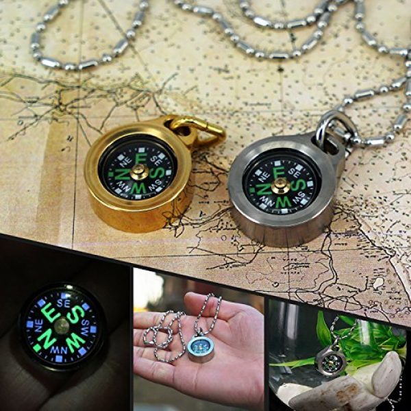MecArmy Survival Compass 7 MecArmy CMP Titanium/Brass EDC Compass, Teardrop Shaped Design with Exquisite engrave, Fluorescence Glow in The Dark Max runtime of 6 Hours IPX5 Waterproof Free Beaded Chain Worn as Pendant