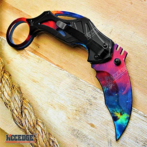 KCCEDGE BEST CUTLERY SOURCE  4 KCCEDGE BEST CUTLERY SOURCE Pocket Knife Camping Accessories Survival Kit Razor Sharp 7 Inch Karambit Tactical Knife Hunting Knife Camping Gear 78609