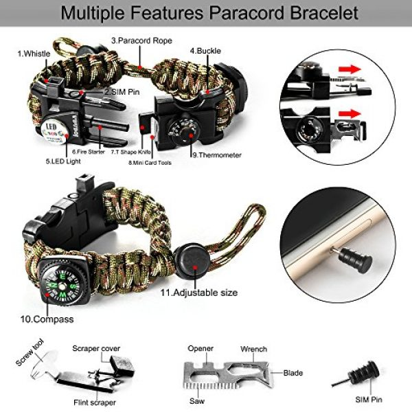 LOGAGA Survival Paracord Bracelet 2 Survival Paracord Bracelet, The Ultimate Tactical Survival Gear with SOS LED Light, Bigger Compass, Whistle, Fire Starter, Thermometer for Camping Hiking Outdoors