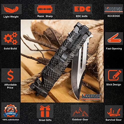 KCCEDGE BEST CUTLERY SOURCE  3 KCCEDGE BEST CUTLERY SOURCE Pocket Knife Camping Accessories Survival Kit Razor Sharp Serrated Clip Point Survival Folding Knife Camping Gear Survival Kit EDC 55419