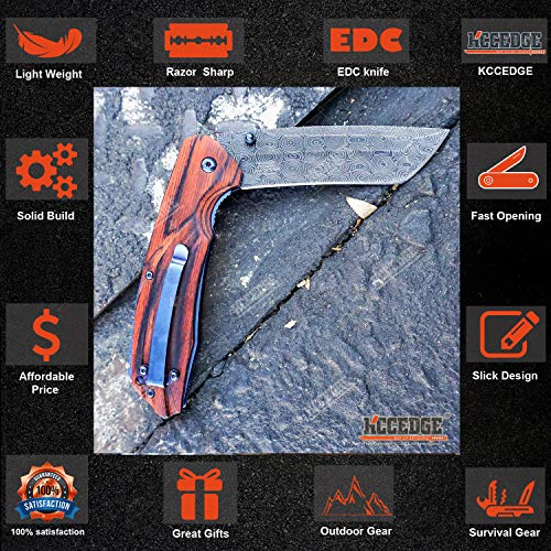 KCCEDGE BEST CUTLERY SOURCE  3 KCCEDGE BEST CUTLERY SOURCE EDC Pocket Knife Camping Accessories Razor Sharp Edge Tanto Blade Folding Knife for Camping Gear Survival Kit 58694