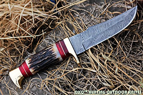 "DKC Knives Fixed Blade Survival Knife 6 DKC Knives (24 5/18) DKC-717 Bald Eagle Damascus Bowie Hunting Handmade Knife Stag Horn Fixed Blade 9.8oz 10"" Long 5"" Blade"