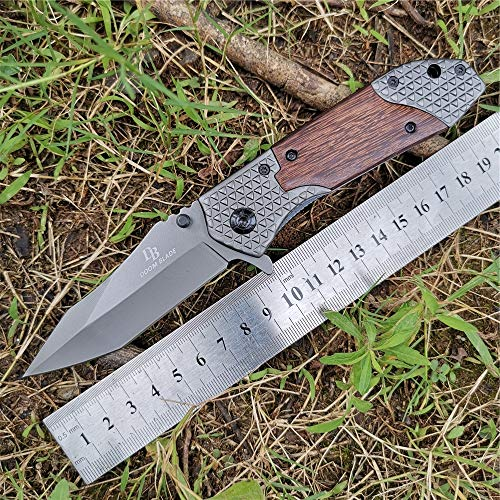 DOOM BLADE  2 DOOM BLADE One Hand Opening Folding Pocket Knife SpeedSafe with Wood Handle - EDC Pocket Folding Knife with Safety Liner Lock for Camping Hunting Survival and Outdoor
