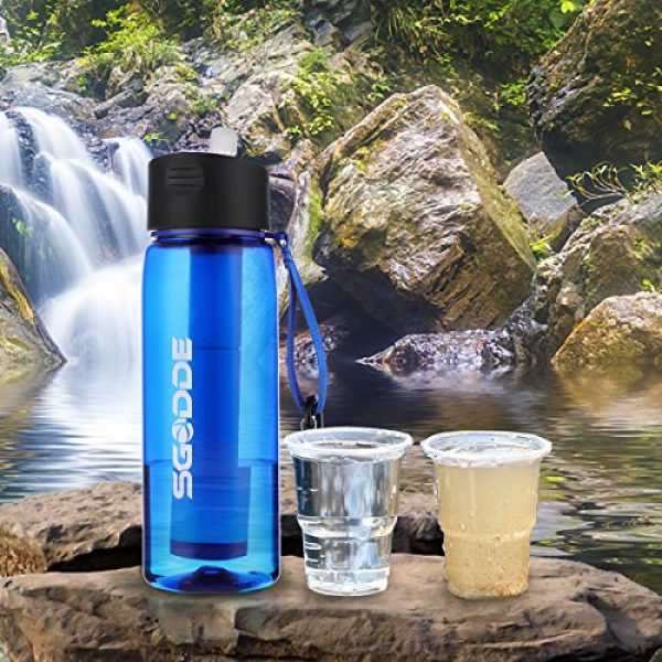 SGODDE Survival Water Filter 2 SGODDE Water Filter Bottles, Filtered Water Bottle with 4-Stage Integrated Filter Straw BPA Free for Hiking, Camping, Backpacking and Travel