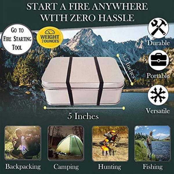FR-1 Defense Survival Fire Starter 4 Tin Container Fire Starter with Fatwood, Tinder Wick, and Fire AceTinder. Great Fire Starter Kit for Camping Gear and Backpacking Accessories.