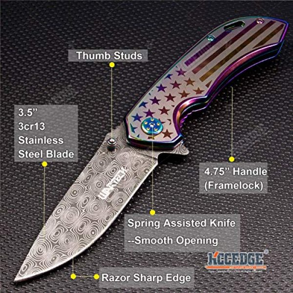 KCCEDGE BEST CUTLERY SOURCE Folding Survival Knife 2 KCCEDGE BEST CUTLERY SOURCE EDC Pocket Knife Camping Accessories Razor Sharp USA Survival Folding Knife Camping Gear Survival Kit 56034