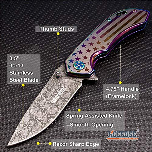 KCCEDGE BEST CUTLERY SOURCE  2 KCCEDGE BEST CUTLERY SOURCE EDC Pocket Knife Camping Accessories Razor Sharp USA Survival Folding Knife Camping Gear Survival Kit 56034