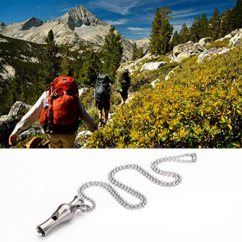 TI-EDC  5 TI-EDC Emergency Safety Whistle Keychain Necklace Titanium Survival Rape Loud Whistle for Security Outdoor Hiking Camping Boating Hunting Fishing Men Women