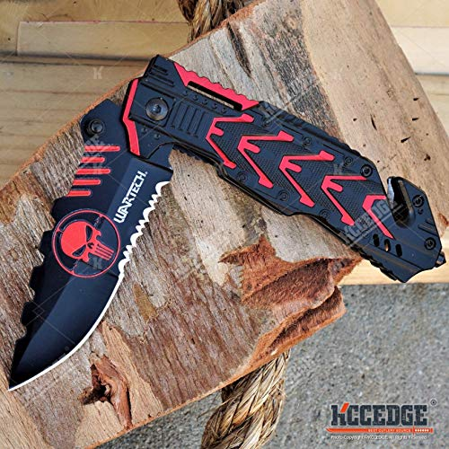 KCCEDGE BEST CUTLERY SOURCE  6 KCCEDGE BEST CUTLERY SOURCE EDC Pocket Knife Camping Accessories Razor Sharp Edge Skull Folding Knife Camping Gear Survival Kit 58014