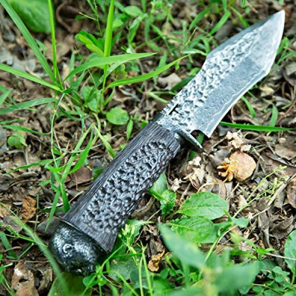 NEWOOTZ Fixed Blade Survival Knife 6 NEWOOTZ Handmade Damascus Steel Hunting Knife with Leather Sheath,Japanese VG10 Core 4.5in Tanto Fixed Blade,Ebony Wood Handle,Full Tang Survival Knives for Men Camping