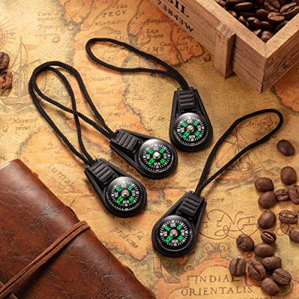 BBTO Survival Compass 5 BBTO 100 Pieces Mini Survival Compass Outdoor Camping Hiking Pocket Compass Liquid Filled Mini Compass for Paracord Bracelet Necklace Key Chain