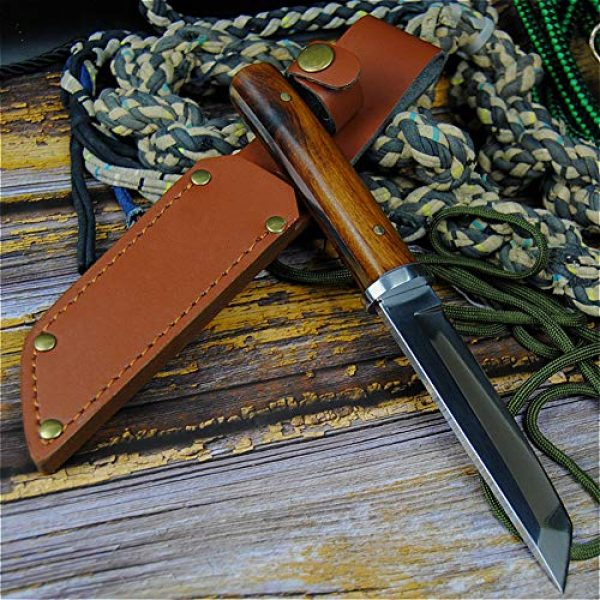 Promithi Fixed Blade Survival Knife 5 Promithi Fixed Blade with Leather Sheath Wooden Handle Japanese 9CR 18MOV Outdoor Fishing Knife Jungle Hunting Knife Camping Tactical Wood Working Knife