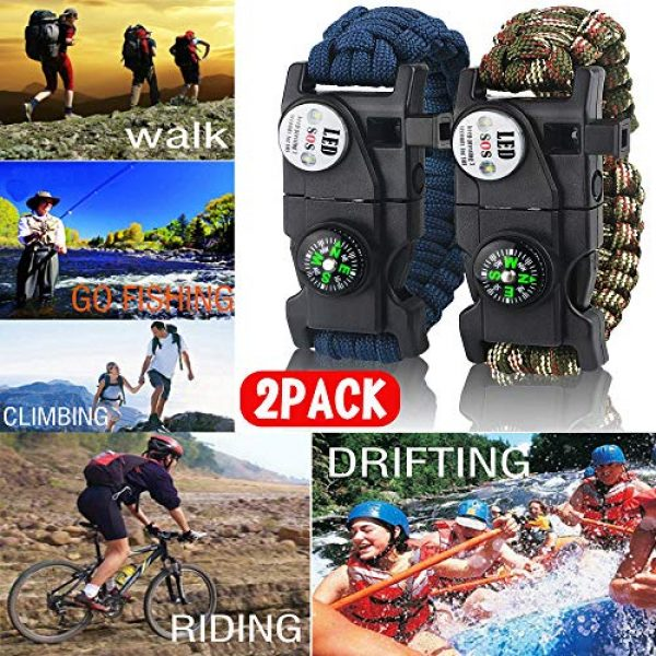 IMPHOM Survival Paracord Bracelet 2 IMPHOM Survival Bracelet Paracord Military Buckle Tool Adjustable Rope Accessories Kit, Fire Starter, Knife, Compass, LED Light,Whistle,for Fishing Hiking Travel Camp(2pcs)