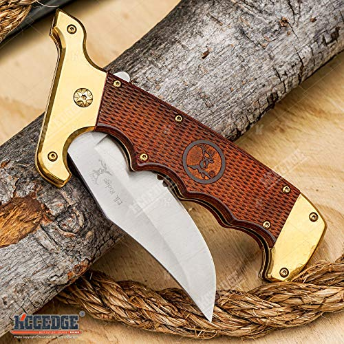 KCCEDGE BEST CUTLERY SOURCE  5 KCCEDGE BEST CUTLERY SOURCE Pocket Knife Camping Accessories Survival Kit Razor Sharp Clip Point Pakkawood Survival Folding Knife Camping Gear EDC 55600