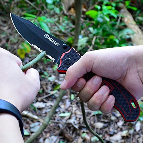 """Harnds  6 Harnds Folding Hunting Knife 4.2"""" Blade Military-Grade Double Safety Lock Tactical Gear with Sheath"""