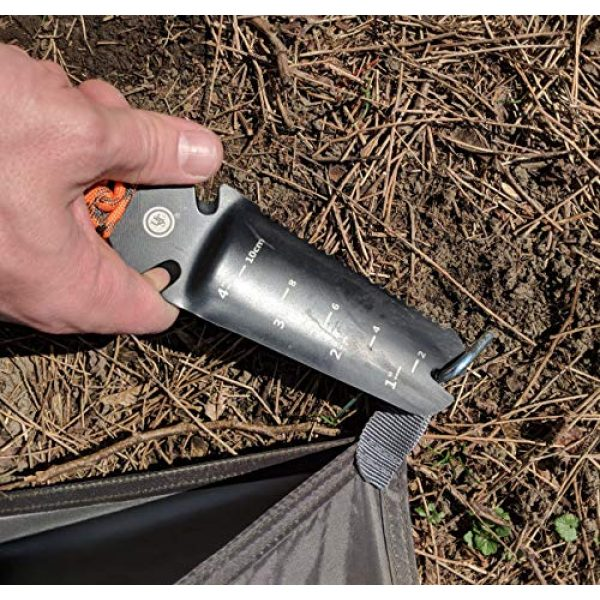 UST Survival Fire Starter 5 UST ParaShovel PRO with 4 Inch Trowel, Line Cutter, Tent Peg Pry Tool, ParaTinder, Fire Starter and Emergency Whistle for Hiking, Camping and Survival