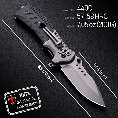 Grand Way  2 Pocket Knife Spring Assisted Knives for Men - Assisted Opening Folding Tactical Survival Knofe - EDC Camping Hunting Boy Scouts Gear Accessories Knifes Christmas Gift Ideas for Men Guys 6783
