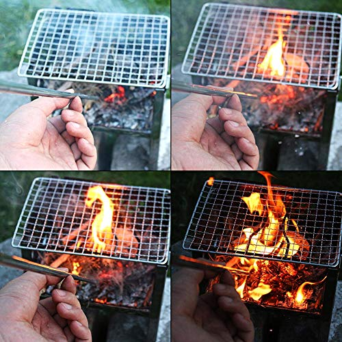 PSKOOK  7 PSKOOK 2 Size Pack Pocket-Size Fire Bellows Collapsible Stainless Steel Fire Blower Pipe Builds Campfire Tool with Poly Carrying Bag (2 Size)